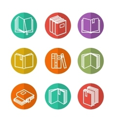 Colorful line books icons vector
