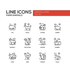 Farm animals - line design icons set vector
