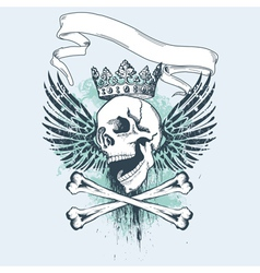 Grunge skull apparel design vector