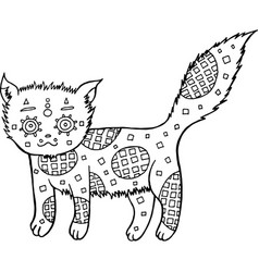 hand drawn cat coloring page vector image vector image