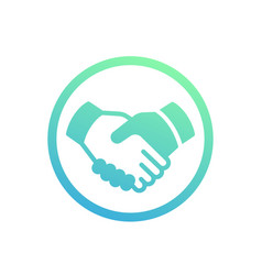 handshake partnership deal icon over white vector image vector image