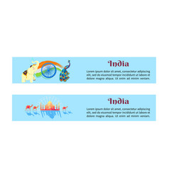 India set of posters with symbols of country vector