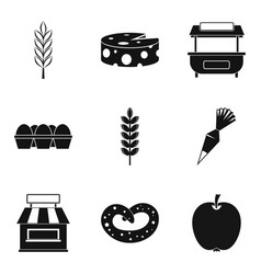 Ingredient for pizza icons set simple style vector