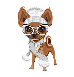 Little dog in a knitted hat vector