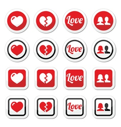 Love heart couple icons for valentines day vector