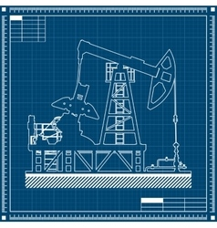 Oil pump silhouette on blueprint background vector