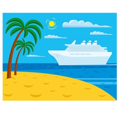Passenger cruise liner near tropical beach vector