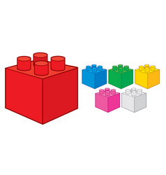 Plastic building block toy construction elements vector
