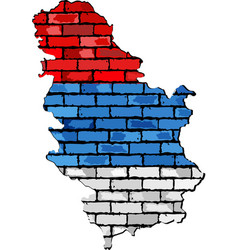 Serbia map on a brick wall vector image