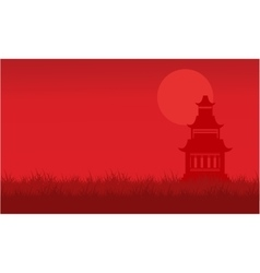Silhouette of pavilion with fog scenery vector