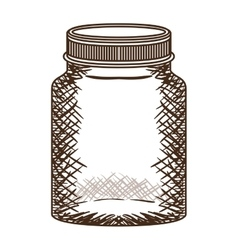 silhouette vintage jar of jam with lid vector image
