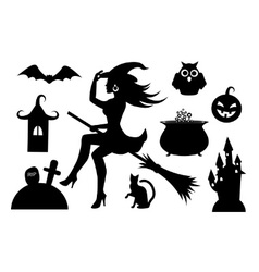 silhouettes of Halloween characters vector image