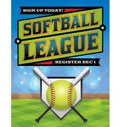Softball league banner vector