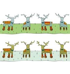 Tileable reindeer border vector