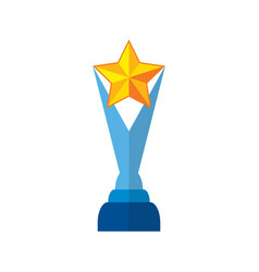 Trophy star in yellow success winner award vector