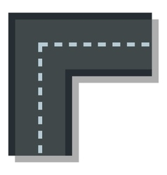 Turning road icon flat style vector