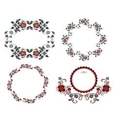 vintage floral frame set vector image vector image