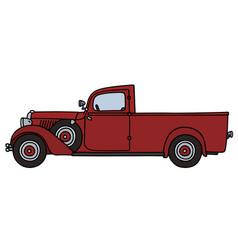 Vintage red delivery car vector