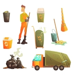 Waste Recycling And Disposal Related Object Around vector image vector image