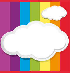 white clouds on rainbow background vector image