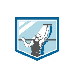 Window cleaner washer worker shield retro vector