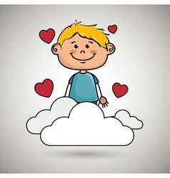 Boy cloud heart love vector