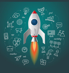 Space rocket launch business project start up vector