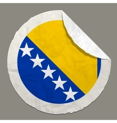 Bosnia and herzegovina flag on a paper label vector