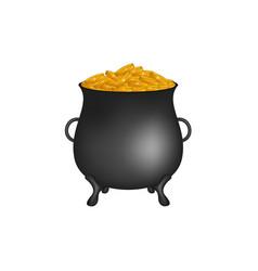 black pot with golden money coins vector image