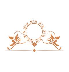 Elegant round decorative frame flourish vector