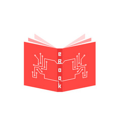 Red ebook icon with pcb elements vector