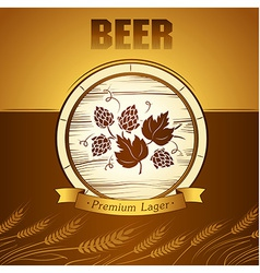 Beer keg with hop for label package vector