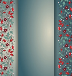 Barberry border hand-drawn berry pattern vector