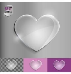 Glass bubble love heart icon with soft shadow on vector