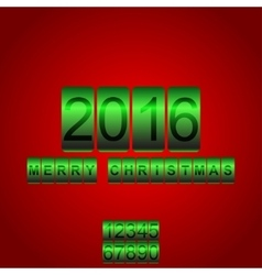 2016 new year red green card odometer vector