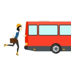 Woman missing bus vector