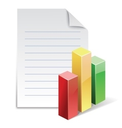 File with stat bar graph vector