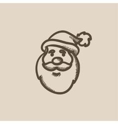 Santa Claus face sketch icon vector image