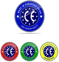 Europe label made stamp badge european round seal vector