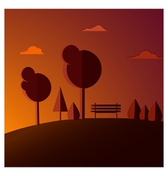Bench sunset vector