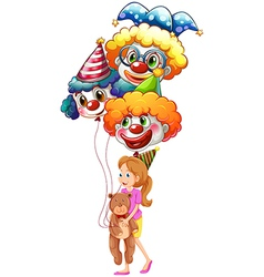 A young lady with clown balloons and a teddy bear vector image vector image