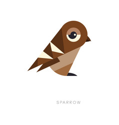 abstract geometric symbol of brown sparrow vector image