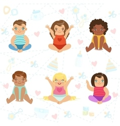 Adorable big-eyed babies sitting and smiling set vector