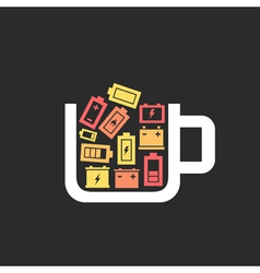 Battery a cup vector image vector image
