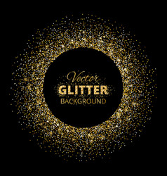 Black and gold background with glitter frame vector