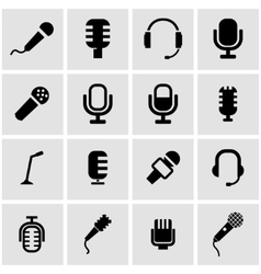 black microphone icon set vector image vector image