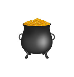 Black pot with golden money coins vector
