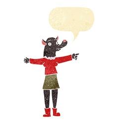 Cartoon pointing werewolf woman with speech bubble vector