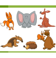 cartoon wild animals set vector image vector image
