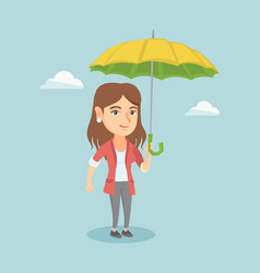 Caucasian insurance agent standing under umbrella vector